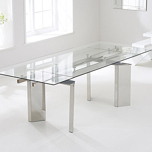 Millicent 160cm Stainless Steel And Glass Extending Dining Table