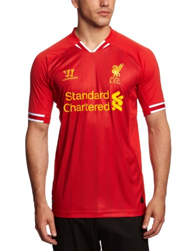 Warrior Men's LFC Home Replica Short Sleeve Jersey - High Risk Red/White/Amber Yellow, Large
