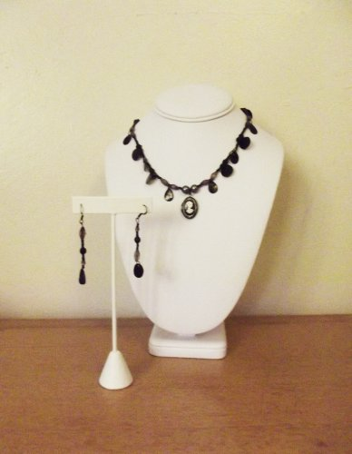 THE SECRET CAMEO (3-PIECE SET - NECKLACE AND EARRINGS) - CAMEO LOCKET, BLACK AND WHITE WITH SHELL ACCENTS AND HANDMADE