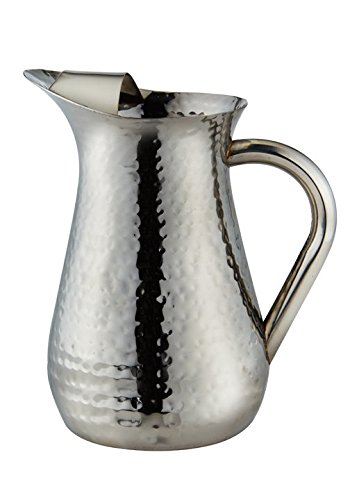 Elegance Hammered 48-Ounce Stainless Steel Pitcher (Water Pitcher Silver compare prices)