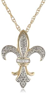 10k Gold Plated Sterling Silver Diamond Fleur-de-Lis Pendant Necklace (1/4 cttw, J Color, I2-I3 Clarity), 18