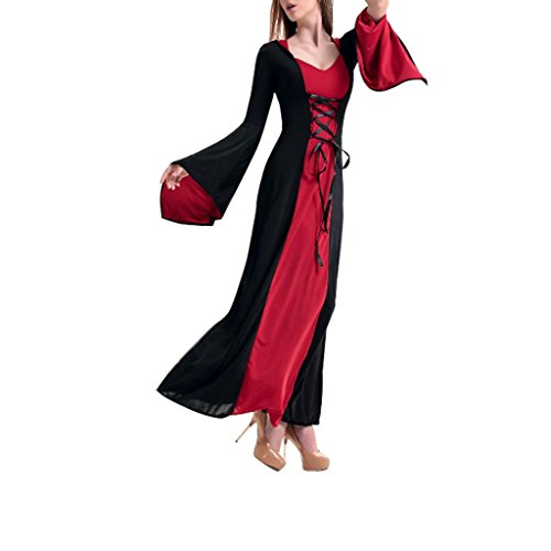 Wotefusi Halloween Party Cosplay Sexy Womens Vintage Red Regal Queen Dress Costume