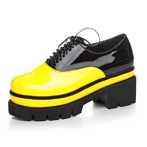 SONGYUNYANFondo per la focaccina fondo spesso di europei e americani High-end delle donne casual cuoio pizzo profonda bocca mocassini / Sneakers Flatform , yellow , 39