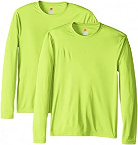 Hanes Men's 2 Pack Long Sleeve Cool Dri T-Shirt UPF 50+, Safety Green, Large