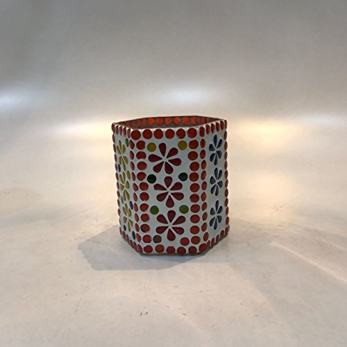 Dlite Crafts Multicolor Polka Design Home Decorative Votive Candle Holder, Set Of 2 PCs - B06XYJW4JG