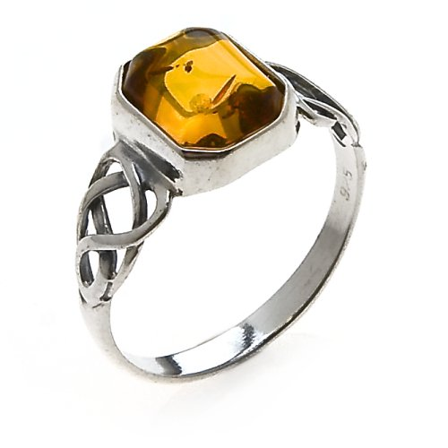 Sterling Silver Celtic Design Amber Ring, Size 5