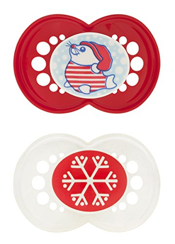 MAM Holiday Silicone Pacifier, Girl, 6 Plus Months, 2 Count