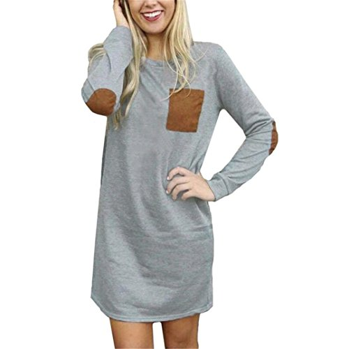 Gillberry Womens Long Sleeve Cotton Casual Loose Short Mini Dress (XL, Grey) (Boutique Clothing For Women compare prices)