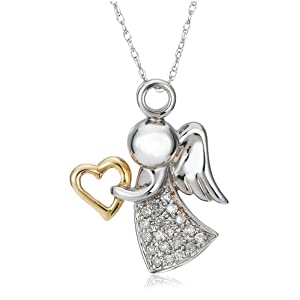 10k Two-Tone Gold Angel Pendant (1/6 cttw, I-J Color, I2-I3 Clarity)