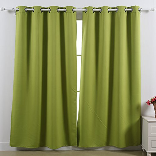 Deconovo Solid Thermal Insulated Blackout Window Curtains For Kids Room Green,1 Set,52x63 Inch