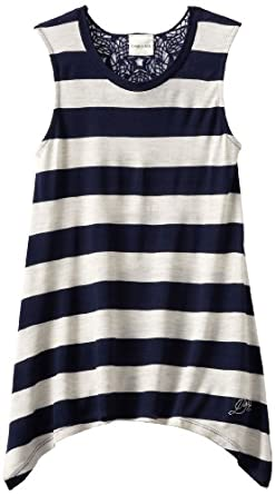 Diesel Big Girls' Trisfedo Stripe Tank Top, Midnight Blue, X-Large
