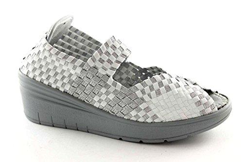 GRUNLAND SELA SC1912 bianco scarpe donna elasticizzata slip on zeppa 40