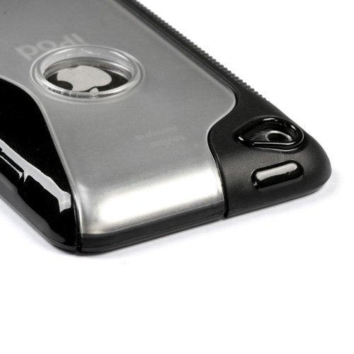 Unique Transparent S Shape Protective Case for iPod touch 4G (Solid Black)
