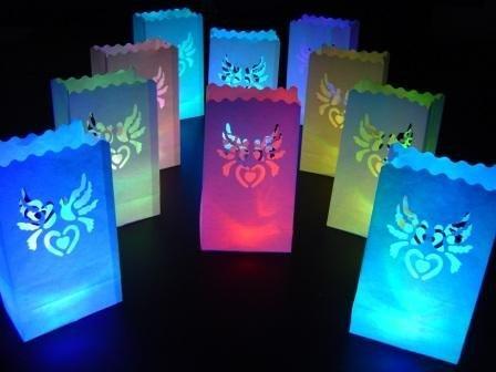 10 X White Doves Paper Candle Bag Lantern + 10 Colour Change Led Lights