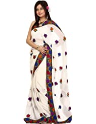 Exotic India Ivory Wedding Sari With Parsi Embroidered Flowers All-Over - Ivory