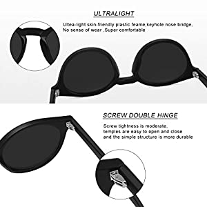 WOWSUN Small Round Sunglasses Vintage Circle Polarized Hippie Sun Glasses with Mirrored Lens