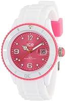 ICE-Watch - Montre Mixte - Quartz Analogique - Ice-White - White - fluo pink - Unisex - Cadran Rose - Bracelet Silicone Blanc - SI.WP.U.S.11