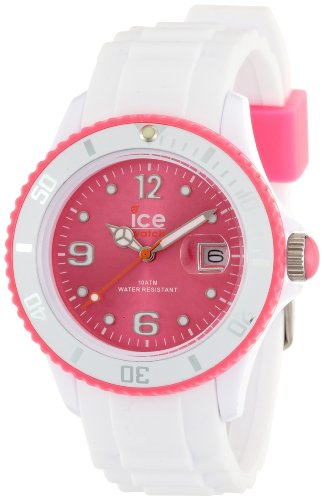Ice-Watch Unisex Quartz Watch with Pink Dial Analogue Display and White Silicone Strap SI.WP.U.S.12