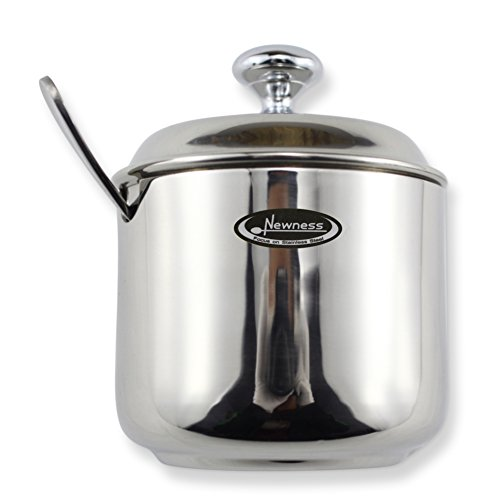 Newness Stainless Steel Sugar Bowl with Lid and Sugar Spoon for Home, Cylinder Shape, 8.44 Ounces(250 Milliliter)