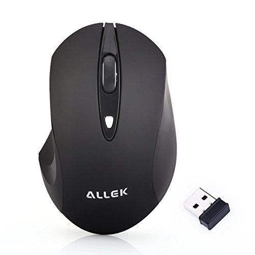 Allek® geräuschlose stumm ergonomische kabellose optische laser Maus mit Nano USB schnurlose Empänger kompatibel zu PC Mac Computer Notebook and Laptop 2.4 GHz 3 Justierbare CPI Level, 1600 CPI, 4 Tasten Schwarz