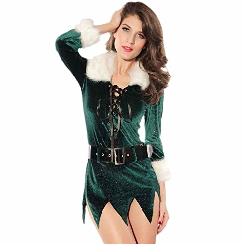 Dear-Lover Belt Elf Dress With Deluxe Swan Feathers Green Free Size