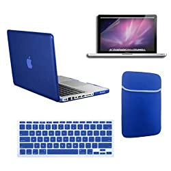 SmackTom 4 in 1 Combo kit For Macbook Pro 13 Inch-Blue Rubberized Hard Case with Protective Keyboard Cover + Sleeve + Anti-Glare Screen Protector