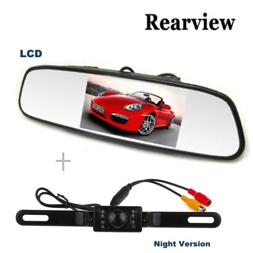 Lemonbest 4.3 Inch Tft Car Auto Lcd Screen View Rearview Mirror Rear Monitor +Waterproof E322 Cmos Car Reversing Camera Kit Rear View Back-Up Camera With 7 Leds Night Version