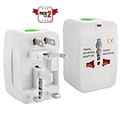 Pack of 2 pcs Universal World Wide Travel Charger Adapter Plug, White