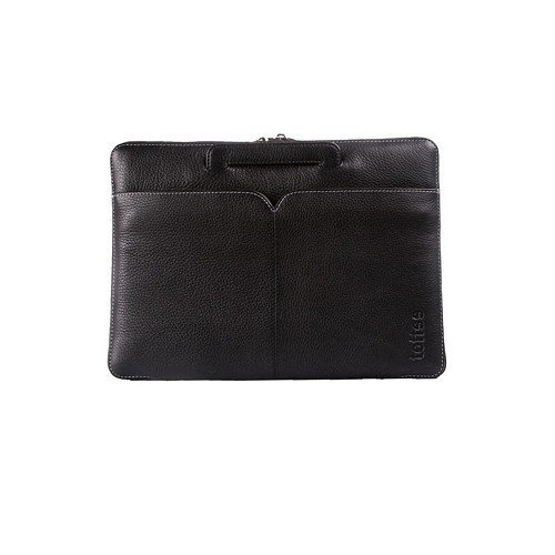 Toffee 13.3 inch Leather Brief - Black