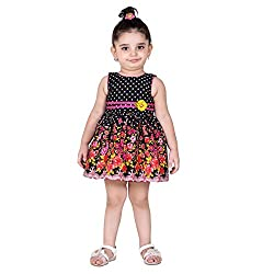 NAVEENS Black Cotton Round Neck Party wear Dress for Girls