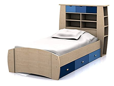 Sydney 3ft Cabin Bed with 3 Drawers - Large Storage Headboard with Shelves and Drawers- Pink or Blue Childrens Furniture (Blue)