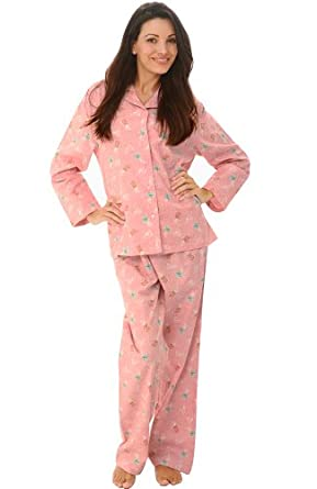 Del Rossa Women's 100% Cotton Flannel Pajama Set - Long Pjs, Small Pink with Coffee Mugs (A0509P29SM)