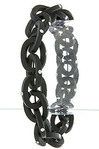 Karmas Canvas Simple Rhinestone Oval Chain Bracelet (Black) front-1069715