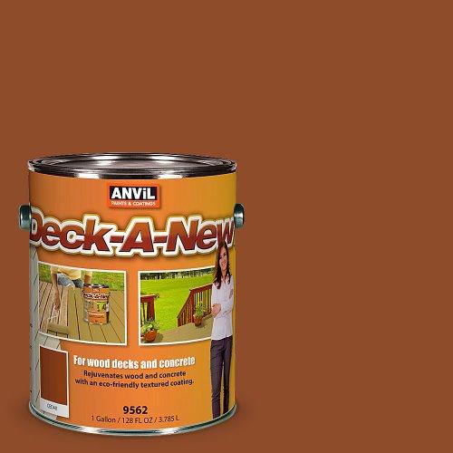 Anvil Deck-A-New Rejuvenates Wood & Concrete Decks Premium Textured Resufacer, Color Cedar - 1 Gallon