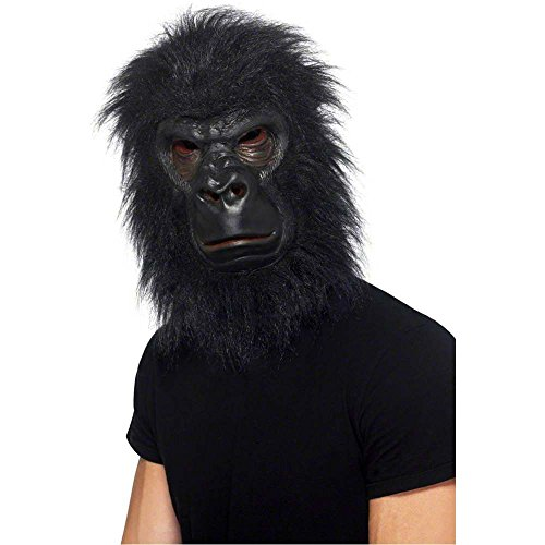 Furry Black Gorilla Mask - One Size