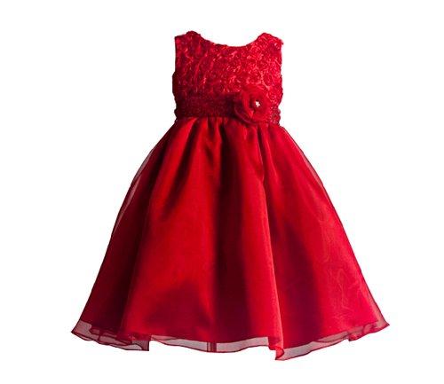 Cordelia 3D Rosette Flower Girl Dress With Flower Sash Fancy Dress Color: Red Dress Size: 3T front-975153