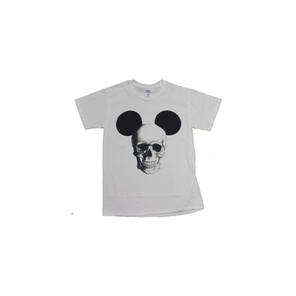 21 Century Clothing Men's Mickey Mouse Skull T   Shirt Small (34 36 inches) White at  Men's Clothing store