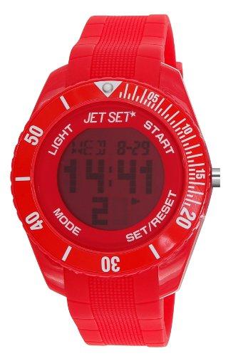 Jet Set J93491-24 - Reloj digital de cuarzo unisex con correa de caucho, color rojo
