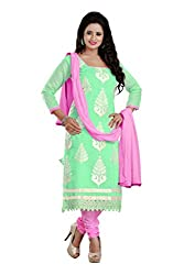 Shree Vardhman C-Green Chandari Straight unstitched salwar suit