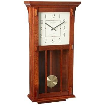 Seiko Wall Clock With Pendulum Dark Brown Case Westminster/Whittington Chime