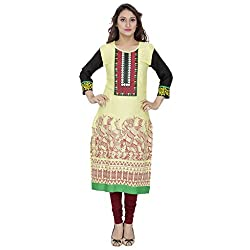 MISTER LADY WOMENS COTTON EMBROIDERED STRAIGHT LONG YELLOW KURTIS