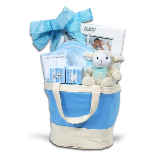 Alder Creek Gifts Baby Keepsake Tote Blue Gift Basket, 3 Pound - 1