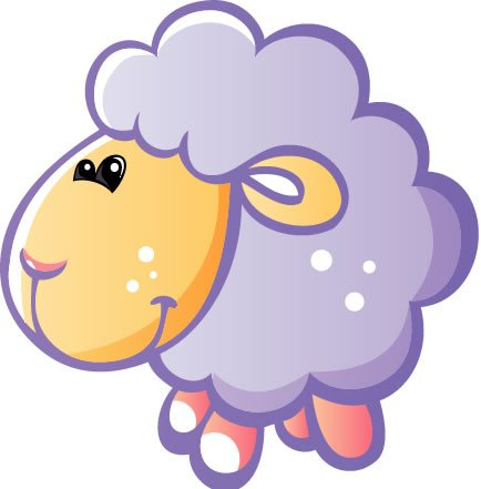 Children'S Wall Decals - Bluish Grey Sheep With Pink Legs, Orange Face - 36 Inch Removable Graphic