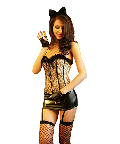 Candygirl Womens Sexy Leopard Catwoman Outfit Lingerie with Stocking