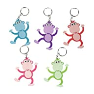 ~ 12 ~ Monkey Key Chains ~ 3″ Rubbery Pvc ~ New ~ Keychain Key Ring Zipper Pull