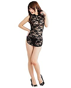 Wisedeal New Arrival Sexy Women Lingerie Fantastic Sleepwear Transpar Transparent Lace Five Colors Nightgown Good Gift to Your Wife Girlfriend With A Wisedeal Keychain Gift(Black)