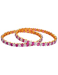 Creation Jewellery Gold Rhodium Plated Gold Plated Bangle Set For Women - B00Z9T474W