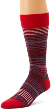 BOSS HUGO BOSS Men's Multicolored Mid Calf Microstripe Dress Sock, Red, One Size