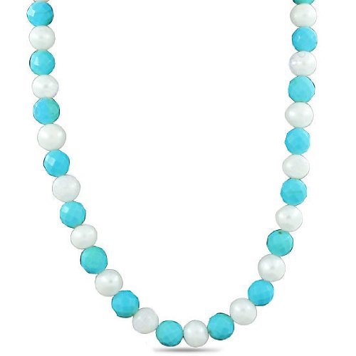 925 Sterling Silver Arizona Turquoise South Sea Pearl Natural Gemstone Beads Strand 20 Inches Necklace Jewelry
