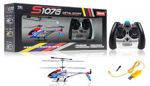 A Set of 2 Brand New Genuine Syma S107G 3 Channels Mini Indoor Co-axial Metal Body Frame & Built-in Gyroscope Rc Remote Controlled Helicopters (1) Special Edition American Flag Colors Theme and (1) Green with 2 AC Chargers